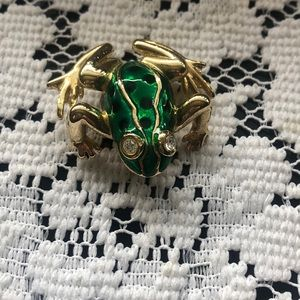 Gorgeous Green & Gold Vintage FROG 🐸 brooch Pin